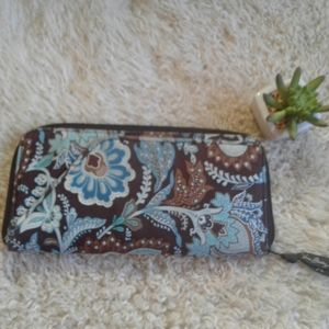 Vera Bradley Java Blue Paisley Clutch Wallet